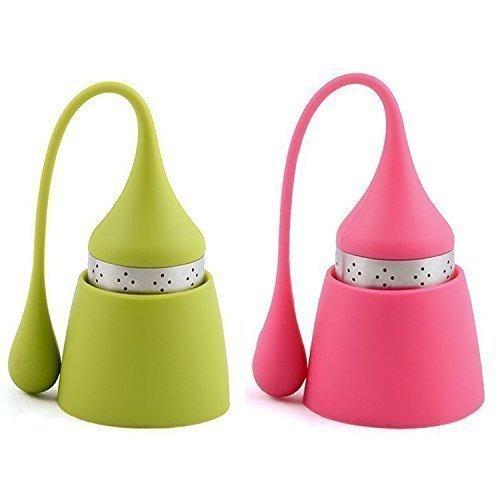 ostfreiem Edelstahl und Lebensmittel Silikon, hübsches Teeei mit dem Auffangbehälter für lose Tee (2er-Set Pink/Grün) ()