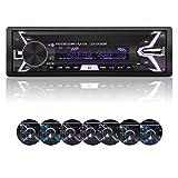 Radio del Coche, YOSASO 7 Colores Car Radio Reproductor de MP3 estéreo Compatible con USB/SD / AUX/Bluetooth / FM con Panel Desmontable