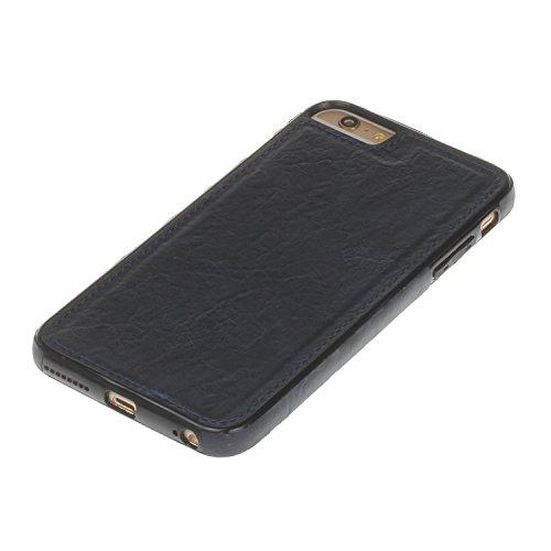 Pelle Custodia Cover per iPhone 6 plus iPhone 6S plus Case ,Ukayfe Ultra Slim Casa Custodia (back cover) rivestita in pelle pieno per iPhone 6 plus iPhone 6S plus,Protettiva Custodia Luxury Puro Color Blu marino 5#