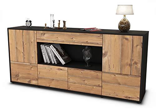 Stil.Zeit Sideboard ELSA/Korpus anthrazit matt/Front Holz-Design Pinie (180x79x35cm) Push-to-Open Technik & Leichtlaufschienen