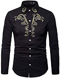 BUSIM Men's Long Sleeved Shirt Autumn Winter Luxury Casual National Style Embroidery Solid Color Fashion Slim...