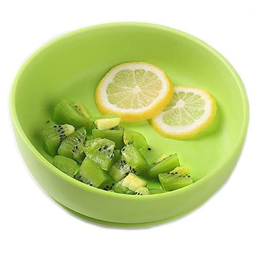 iKiKin Piatto con Ventosa per Bambini, Piatti in Silicone Bambini, Antiscivolo, Senza BPA, Certificati FDA, Sicuri in Microonde e in Lavastoviglie(Verde)