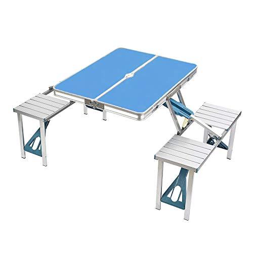 ZIHENGUO Table de Pique-Nique et chaises réglées, Tables Pliantes portatives de Camping, Bureau imperméable en Alliage d'aluminium pour la Plage extérieure de Jardin BBQ,Blue