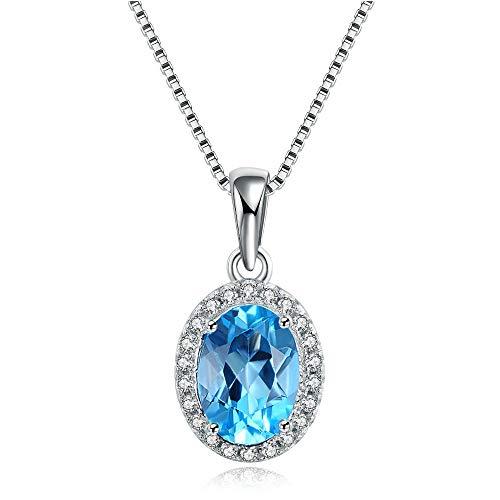 MATBC 925 Sterling-Silber-Schmuck Anhänger Halskette für Frauen 6x8mm 100% natürliche ovale Blaue Topas-Halsketten (Topas Katze Blauer)