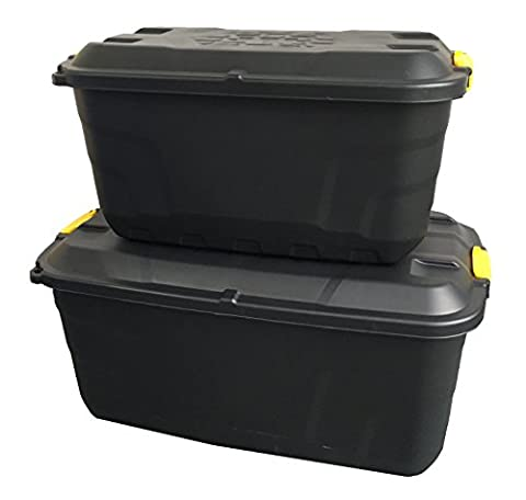 2 x Plastic Extra Long Wheeled Mobile Storage Weatherproof Boxes