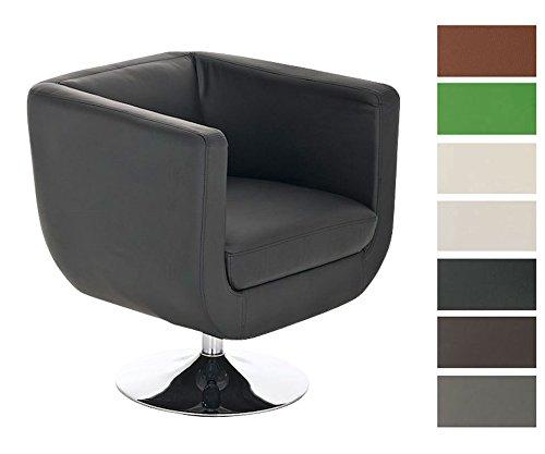 CLP Design Leder-Loungesessel COLORADO im Retro-Stil, rund, drehbar Schwarz