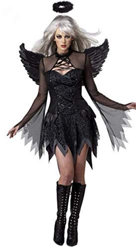 LCXYYY Erwachsener Damen Geister Schwarze Witwe Kostüm Schwarze Geisterbraut Weiblicher Geist Halloween Kostüm Sexy Vampir Dunkler Engel Teufel Karneval Verkleidung Kleid+Flügel+Kopfring (Schwarze Witwe Kostüm Sexy)