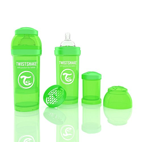Twistshake 78010 Biberon anti-coliche, Verde, 260 ml