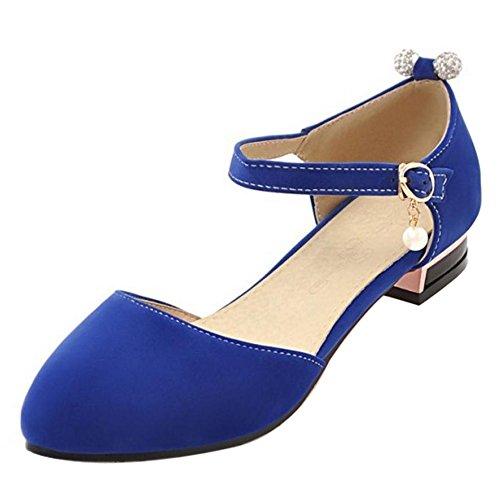 TAOFFEN Femme Classique Bout Ferme Bloc Talon Bas Sandales Sangle De Cheville Boucle Avec Perle Bleu