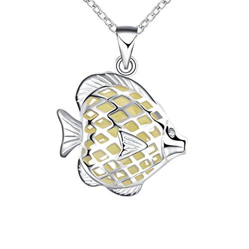 PAURO Damen Silber Plattiert Magische Glühen Im Dunklen Herz Fisch Anhänger Halskette Cyan