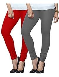 Lux Lyra Red,SteelGrey Cotton Churidar Leggings Pack Of 2