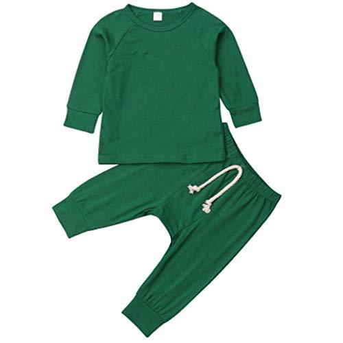 Tyoby Baby Langarm Top + Strumpfhose Leggings Set Bequemer Schlafanzug Homewear Lässige Outfits Sets Erstausstattung (Grün,90)