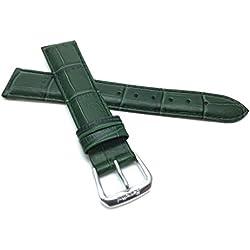 18mm Dark Green Womens' Alligator Style Genuine Leather Watch Strap Band