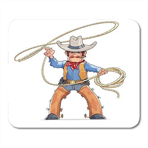 Luancrop Mauspads Cowboy-Western-Charakter-Junge im amerikanischen traditionellen Kostüm mit Lasso-Rodeo-Karikatur-Person-Weiß-Mausunterlage für Notizbücher, Tischrechner-Bürozubehöre - Charakter Kostüm Zubehör