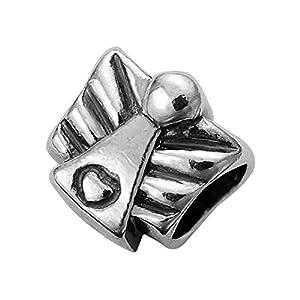 Hochwertiger Engel Herz Beads 925 Sterling Silber Bead für Armbänder -Schutzengel Element #1760