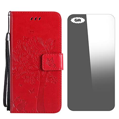 Conber Funda iPhone 8 Plus, Funda iPhone 7 Plus, Funda de Cuero con [Protector de Pantalla Gratis], Serie Gato y Arbol Shock Absorción y Función de Kickstand para Apple iPhone 8 Plus/7 Plus - Rojo