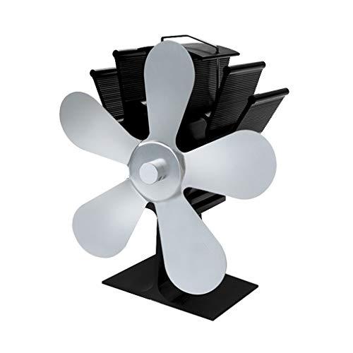 Fenteer Stromloser Hitzebetriebener 5 Flügel Ventilator Ofenventilator für Holzofen Kamin Öfen - Silber