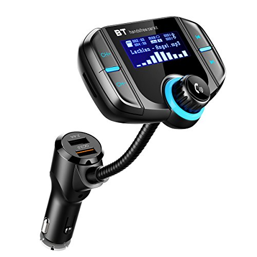 Criacr FM Transmitter, Bluetooth Kfz FM Transmitter, Auto Radio Adapter Freisprecheinrichtung Car Kit mit integriertem Mikrofon und 2 Port USB Kfz Ladegerät für Iphone, Samsung, Sony, Huawei usw