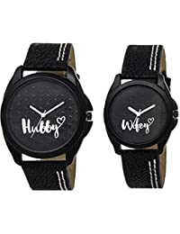 OM DESIGNER Analogue Round Black Dial Couple Watch - L-31-234