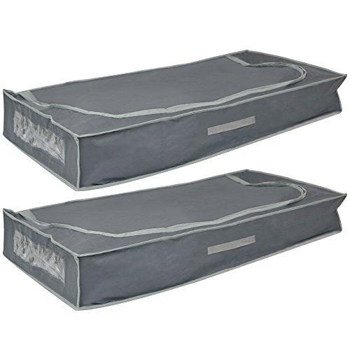 com-four® 2X Unterbettkommoden mit Reißverschluss, Haltegriff und Sichtfenster, 105 x 45 x 16 cm (02 Stück - 105x45x16cm)
