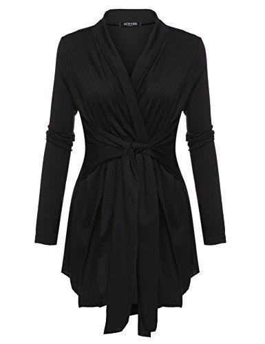 ACEVOG Damen Strickjacke Cardigan Offener V-Ausschnitt Wasserfall Strickmantel Sweatshirt Langarmshirt Asymmetrisch Mantel Tops Outwear in 10 Farben
