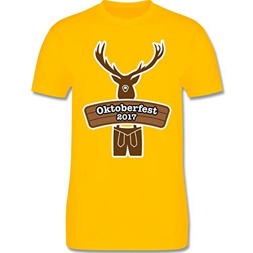 Oktoberfest Herren - Hirsch in Tracht Oktoberfest 2017 - Herren Premium T-Shirt Gelb
