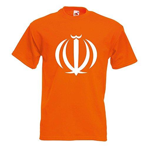 KIWISTAR - Hoheitszeichen des Iran T-Shirt in 15 verschiedenen Farben - Herren Funshirt bedruckt Design Sprüche Spruch Motive Oberteil Baumwolle Print Größe S M L XL XXL Orange