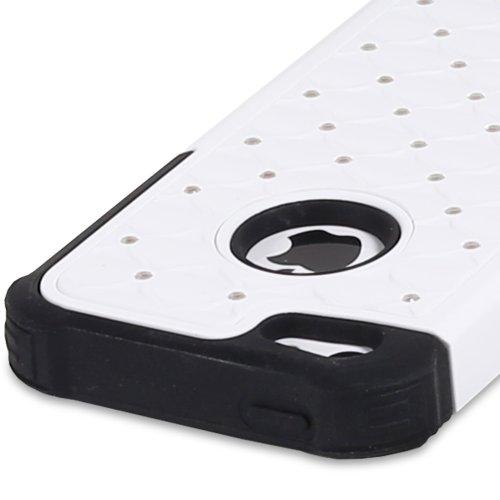 Fosmon HYBO-SD Star Diamant PC + Silikon Case Cover hülle für iPhone 5c - Weiß/Schwarz Weiß/Schwarz