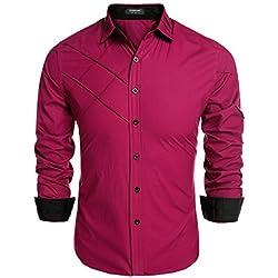 Coofandy Camisa hombre Caballero Manga Larga Rojo de Rosa Algodón Rayas Talla S