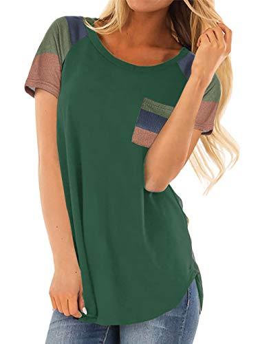 Patchwork-t-shirt Top (AMORETU Damen Patchwork Rundhals T-Shirt Einfarbige Tunika Top mit Taschen)