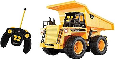 Top Race® 5-Kanal voll funktionstüchtiger RC Ladelaster,Ferngesteuertes Auto, RC Auto, batteriebetriebene Fernbedienung, stabiler gelber Bauladelaster mit Lichtern und Geräuschen