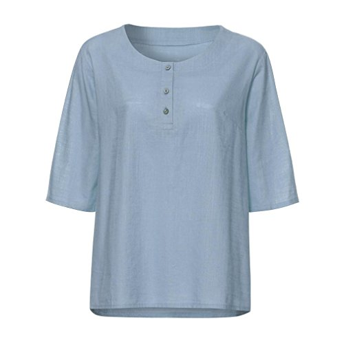 ESAILQ Damen T-Shirt Ladies Extended Shoulder Tee, Baumwollshirt mit Turn-up Ärmeln(L,Hellblau)