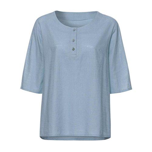 ESAILQ Damen T Shirt Bluse Tank Top Damen Camisole Sommer Lose Weste Schwarz Blau Rosa Große Größe Mode 2018(M,Hellblau)