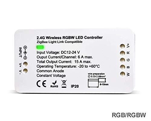 ZigBee LED Strip Streifen Controller, RGB RGBW Steuergerät für 12-24V LED Licht Stripes Lichtband, ZigBee Light Link ZLL-Vorschaltgerät, Philips Hue Bridge, Amazon Echo Plus Alexa, Lightify