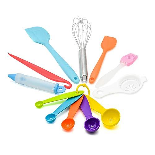 8 stück besteck - set - küche backen - quirl, 2 größen silikon spachtel, ein pinsel, das stift, messlöffel set - hitzebeständige backen utensil (verschiedene farben) Großes Utensil