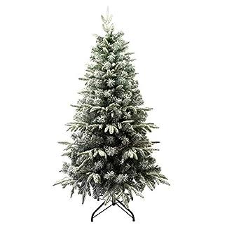 Árbol de Navidad Flocado con Copos de Nieve Abeto Artificial Nevado Automontable C/Soporte Metálico 120-210cm (120cm 315Tips, Flocado)