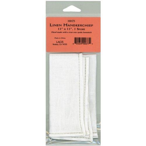 Lacis Leinen Taschentuch 27,9cm x 27,9cm Single Spoke-White, andere, Mehrfarbig