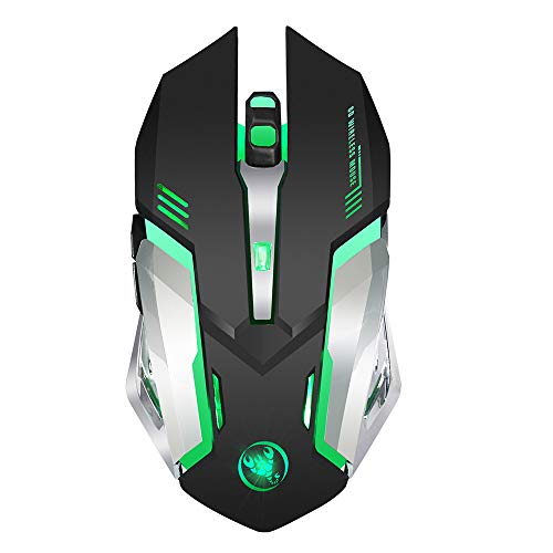 YHML Drahtlose Spielmouse, Unique Mute Click, Breath Backlight,2 programmierbare Side Buttons,2400 DPI, Ergonomic Grip, 6-Key Design-Black