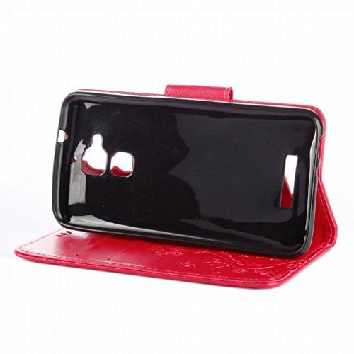 Custodia Asus Zenfone 3 Max / ZC520TL Cover Case, Ougger Fiore Farfalla Portafoglio PU Pelle Magnetico Stand Morbido Silicone Flip Bumper Protettivo Gomma Shell Borsa Custodie con Slot per Schede (Vio Rosa
