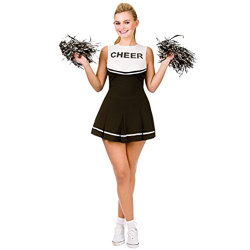 school Cheerleader-Abendkleid -Up Party Halloween-Kostüm-Ausstattung (Size S UK10-12) Schwarz (Damen Halloween Kostüme)