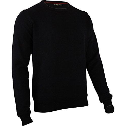 hemmy Fashion Herren Pullover Rundhals Uni - schwarz - Jet Black XL