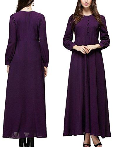Sitengle Damen Retro Muslim Kleider Langarmshirt Tops Shirts Tuniken Party Lange Kleider Ball-Abendkleid Cocktailkleid Maxi Dress color 5