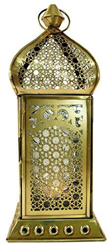Guru-Shop Orientalische Messing/Glas Laterne in Marrokanischem Design, Windlicht, Farblos, Farbe: Farblos, 25x10x10 cm, Orientalische Laternen