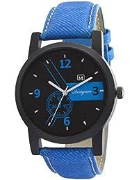 Om Designer Analogue Black Dial Denim Blue Belt Watch for Mens & Boys OM88