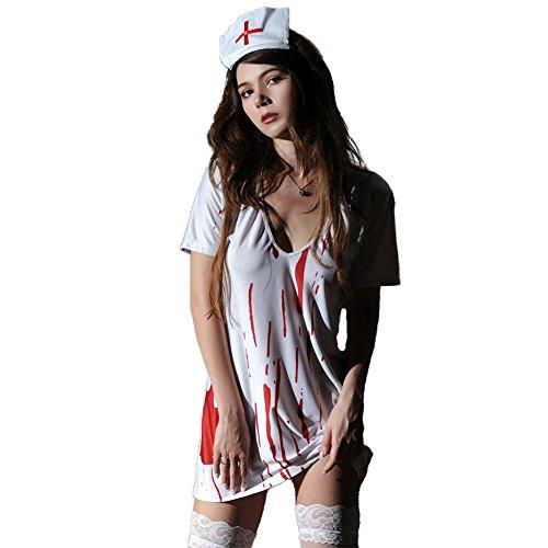 (SASA Halloween Kostüm Blut Krankenschwester Frauen Fancy Dress Zombie Alley Erwachsene Cosplay Dessous Babydoll Plus Size V Kragen)