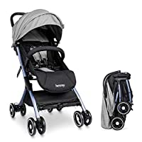 Lightweight Stroller Buggy, Besrey Travel Buggy with Reclinable Backseat Easy Fold Compact Airplane Stroller, Grey (0-36 Months)