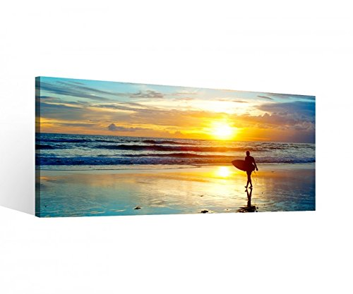 Leinwand 1Tlg Meer Surfer Surfen Sonnenuntergang Leinwandbild Bilder Wandbild Holz direkt vom Hersteller 9P629, 1 Tlg BxH:80x40cm