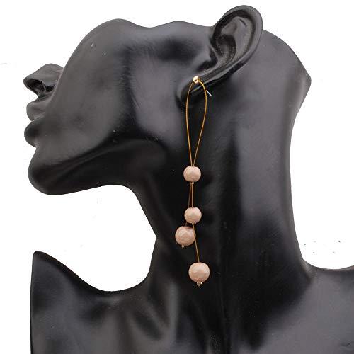Lange Accessoires, facettenreiche, dünne Ohrringe, weibliche, grenzüberschreitende Modelle, personalisierte Ohrringe aus Perlennetz und rotem Temperament, Designerohrringe-Khaki -