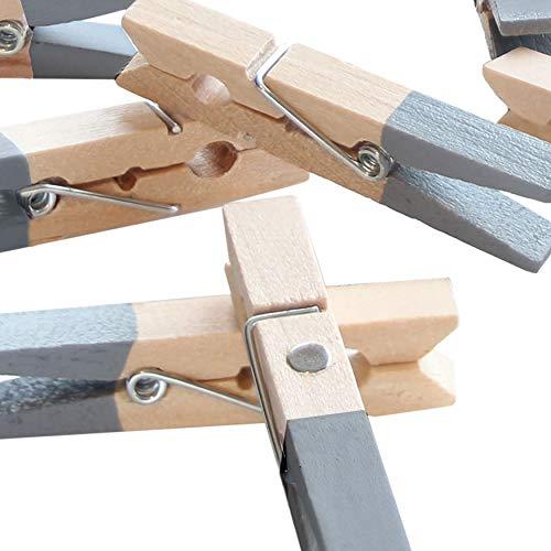 LeTOMA - 12 graue Magnetklammern - Holzklammern 45mm- mit integrierten starken Neodym Magneten für die Befestigung am Kühlschrank und vielen Anderen magnetischen Oberflächen -