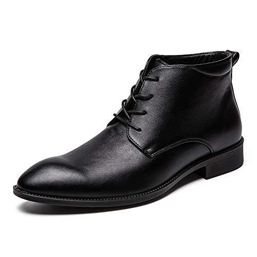 Jingkeke Botines de Vestir for Hombres for Hombres Zapatos con Cordones de Trabajo High Derby Oxford...